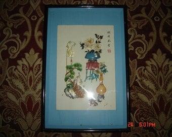 """Vintage Framed Oriental Enamel Flower Bouquet Wall Art 24""""x15.5"""""""