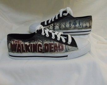 The Walking Dead Hand Painted Michonne Canvas Lace Up Shoes