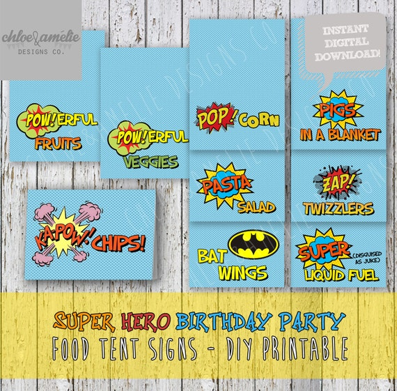 Diy Drinks Food Printables: Super Hero Party Table Tents Food Signs Labels Batman