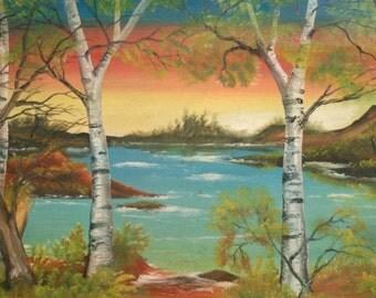 Vintage Landscape River Lake Oil Painting, Signed