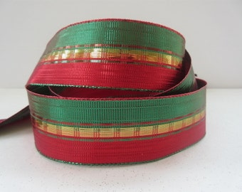 "Red and Green Ribbon Gold Metallic Christmas Wired Ribbon 1 1/2"" inch wide Holiday Gift Wrap Wreath Tree Center Piece Home Decor  LC071"