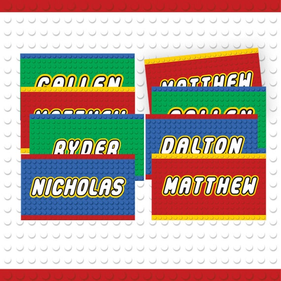 Building Block Party Custom Name Tags 3 Colors / Printable /