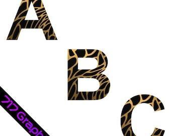 Leopard Print Alphabet Clipart