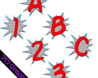 Superhero Alphabet & Numbers Clipart Package (Red)