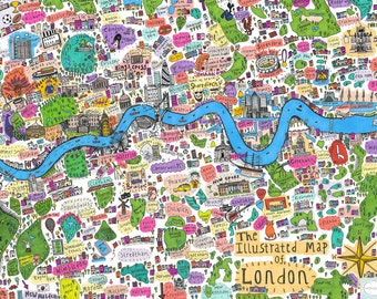 Detailed illustrated map of London Giclee fine art print first edition