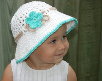 baby summer hat, white baby girl hat, girl hat with brim, girl cotton hat, beach hat for girls, hat with flower, made to order