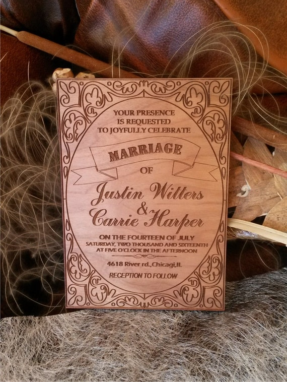 Personalized rustic wedding invitation / engraved wood  Wedding invitations/ shabby chick wedding invitation / Unique wooden invitation card