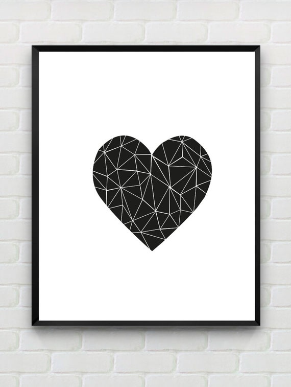 Printable Art Heart Print Love Print Polygon Wall Art