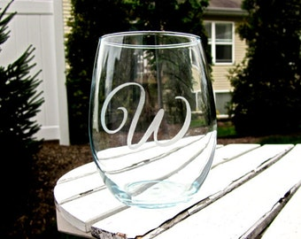 Etched Stemless Wine Glasses with One Initial
