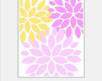 Floral Wall Art - Flower Art Prints - Dahlia Wall Decor - Flower Home Decor - Home Wall Decor, Bath, Nursery - 8x10 print