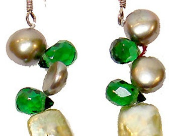 Cafe Society Collection Earrings (Pierced) Green Pearls and Beads