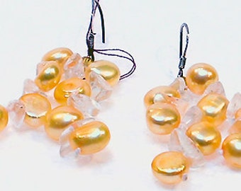 Cafe Society Collection Earrings Pierced Golden Freshwater Pearls