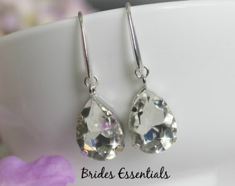 Bridal Rhinestone Earrings, Wedding Earrings, Crystal Drop Earrings, Dangle Earrings, Silver Earring, Bridal Earring, Silver Wedding Jewelry