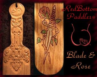 Spanking Paddle with Blade & Rose art engraved, makes an elegant BDSM gift.