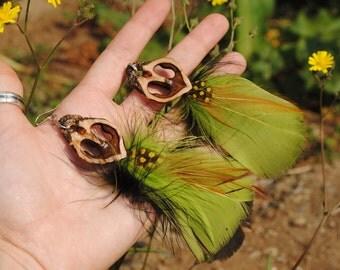 Baltic Amber & Classy Plume Feather - Walnut Heart Earrings