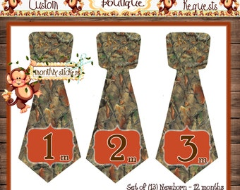 Realtree Camo Monthly Baby Tie Stickers Baby Boy Ties Month Baby Stickers Milestone Stickers Monthly Sticker Boy Stickers Baby {M140}