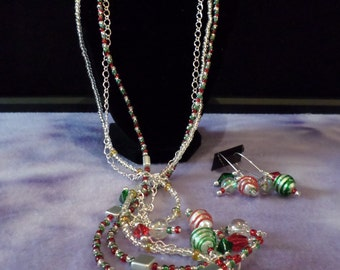 Merry Christmas Multi-Use Necklace and Earring Set