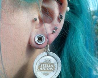 Upcycled Stella Artois Bottle Cap Earrings