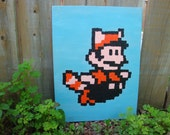 SALE 20% off - Racoon Mario from Mario Bros 3 NES pixel painting 12x16 canvas panel