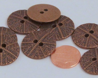 """Lot of 8 Antiqued Brass Tone Sew-through Metal Buttons 7/8"""" 23mm (#5972)"""