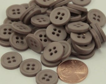 """24 Matte Taupe Sew-through Plastic Buttons Almost 9/16"""" 13.5MM # 6380"""