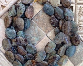 Oval snakesin jasper beads
