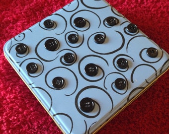 Light Blue Tin Box Embellished with Buttons
