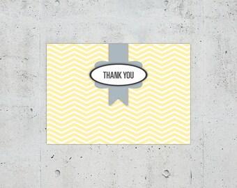 Shabby Chic Chevron Wedding Thank You Card | Printable DIY | Color Customizable