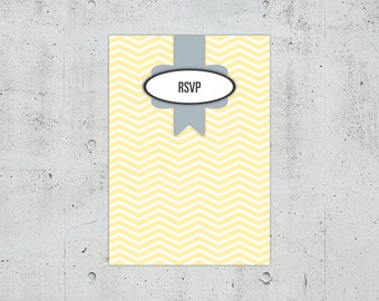 Shabby Chic Chevron Wedding RSVP Card | Printable DIY | Color Customizable