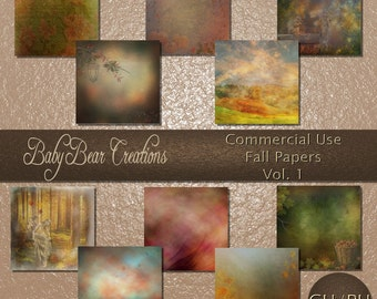 Commercial use digital scrapbooking papers. All in the colors of fall.