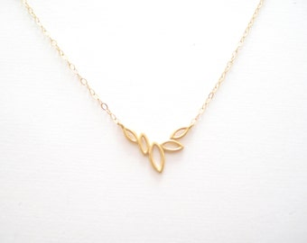 SALE** Tiny Five Leaf Necklace, Gift for Her, Bridesmaid Gifts, Simple Jewelry, Gold, Silver