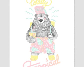 Totally Tropical bear Giclee | Fine art print