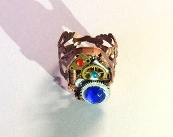 Steampunk Ring Jewelled Watch Movement - Adjustable