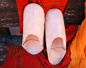 Beige Slippers Man. Moroccan Leather. Shoes.