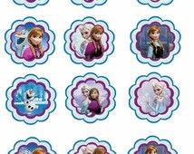 Disney FROZEN anna and elsa bottlecap 1 inch round bottlecap image sheet you print