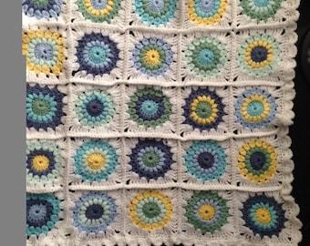 Handmade crochet starburst baby blanket