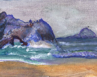 Seascape painting art print bathroom decor ocean waves beach and rock signed giclee print