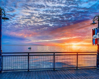 Sunrise over Galveston Bay from the Kemah boardwalk.