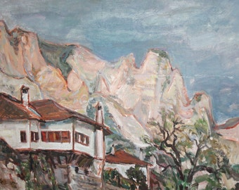 Vintage oil painting landscape mountain signed