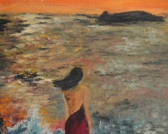 1980 Seascape woman oil painting signed