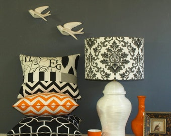 Hand Made Damask Drum Lamp Shade, Avaiable in 2 Colours, 38x26, Made to Order in 1 - 2 Weeks