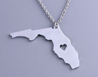 I heart  Florida Necklace - Florida Pendant - State Charm - Map necklace - Map Jewelry