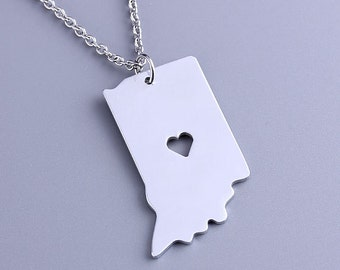 I heart Indiana Necklace - Indiana Pendant - State Charm - Map necklace - Map Jewelry