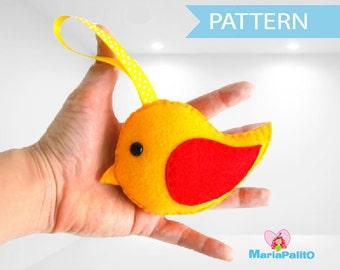 Felt Bird Pattern, Stuffed Bird Pattern, Felt Bird Pattern Toy, Felt Bird Toy, Sewing Pattern, Pdf Digital Pattern,  Instant Download A729