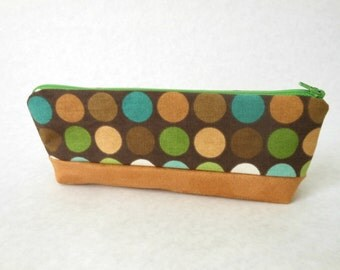 Canvas Suede Zipper Pouch, Pencil Case College Gift Tampon Case Makeup Bag Small Toiletry Pouch Fabric Pouch Polk Dot Green Brown