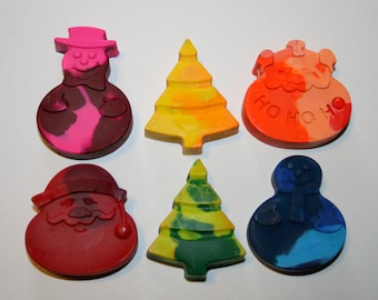 Set of 6 Colorful Christmas Crayons