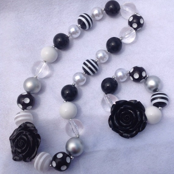 black and white chunky bubblegum necklace and by