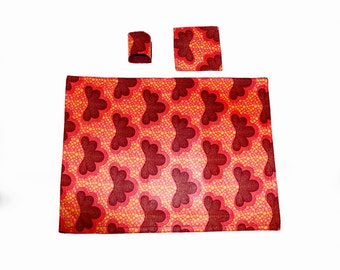 Pink floral ankara placement mats with coasters and napkin rings