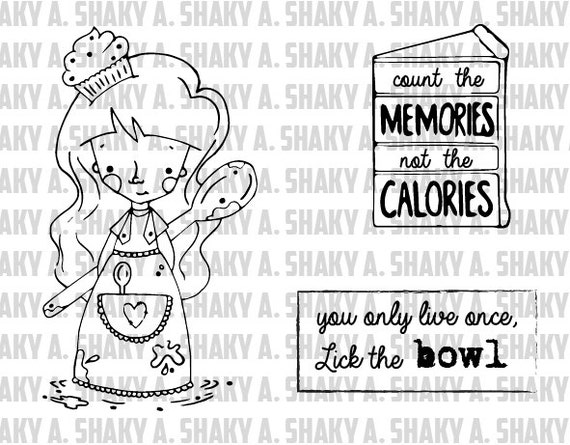 "Shaky A. ""Margot"" digital stamp set. [ Includes 1 characters and 2 sentiments ]"
