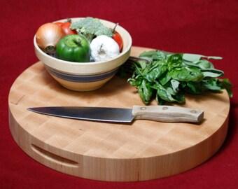 Round Maple Cutting Board, End Grain Wood Cutting Board, Butcher Block, Chopping Block. Round 16x2 Inches